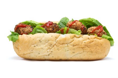 sub: Meatball Sub Sandwich from low perspective isolated on white.