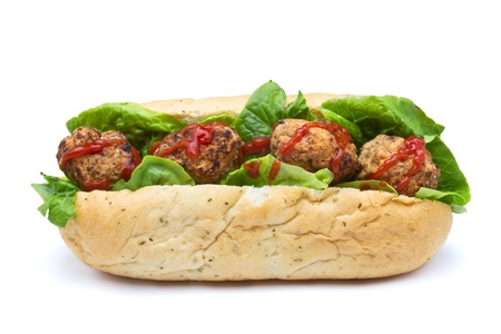 low perspective: Meatball Sub Sandwich from low perspective isolated on white.