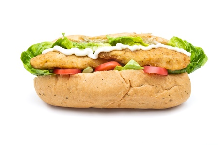 Fried Chicken Sub sandwich from low perspective isolated on white. photo