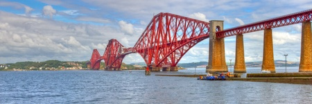 rails: World famous Forth Rail Bridge spanning the Firth of Forth, Scotland. Stock Photo