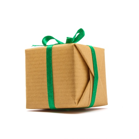 Single brown paper covered Gift box isolated on white background. Stock Photo - 10559692