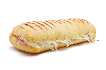 panini: bacon and cheese panini from low perspective isolated on white. Stock Photo