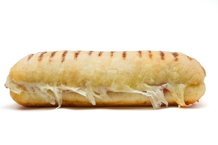 bacon and cheese panini from low perspective isolated on white. Standard-Bild