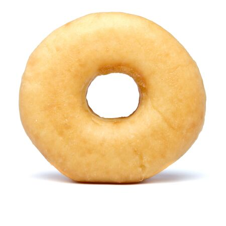 doughnut: Single sugared plain doughnut from low perspective.