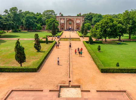 Delhi / India - September 21, 2019: Charbagh, quadrilateral Islamic garden layout divided by walkways, Humayun's tomb, mausoleum of the Mughal Emperor Humayun in New Delhi, India