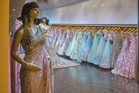 New Delhi / India - October 7, 2019: Luxury fashion dress store in New Delhi, India