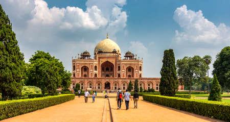 Delhi / India - September 21, 2019: Humayun's tomb, the mausoleum of the Mughal Emperor Humayun in New Delhi, India