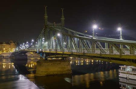 Budapest / Hungary - October 20, 2018: Liberty Bridge or Freedom Bridge, Szabadsag hid, across the river Danube in Budapest, Hungary