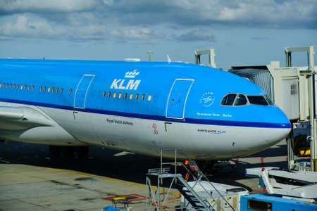 Amsterdam / Netherlands - October 7, 2018: KLM Royal Dutch Airlines Airbus A330-203 at Amsterdam Airport Schiphol Redactioneel
