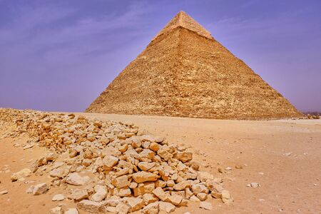 The Pyramid of Khafre (Pyramid of Chephren), the second-tallest of the Ancient Egyptian Pyramids of Giza in Giza Plateau in Cairo, Egypt Stock Photo