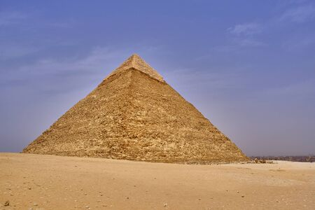 The Great Pyramid of Giza (Pyramid of Khufu or Pyramid of Cheops) in the Giza pyramid complex in Cairo, Egypt