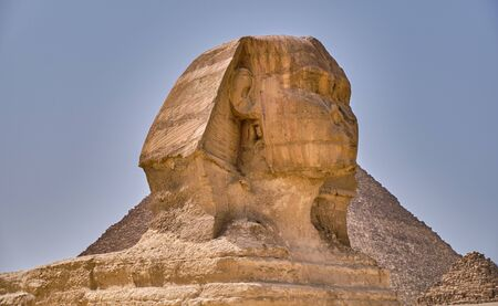 Great Sphinx of Giza on the Giza Plateau on the west bank of the Nile in Cairo, Egypt Stock Photo