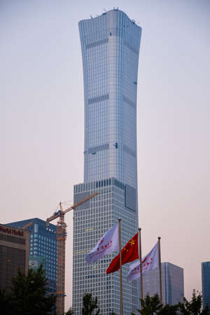 Beijing/ China - October 12, 2018: CITIC Tower (China Zun Tower), 528 m supertall skyscraper in the Central Business District of Beijing, China
