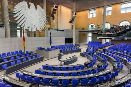 Berlin / Germany - February 22, 2017 - German Reichstag, main hall of the German federal parliament Editorial