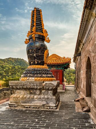 Pule Temple, Temple of Universal Joy, one of the Eight Outer Temples of Chengde in Chengde Mountain Resort, summer residence of Qing dynasty emperors of China