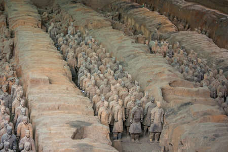 Terracotta Army, excavated terracotta sculptures depicting the armies of the first Emperor of unified China Qin Shi Huang at his burial place in Xian, China