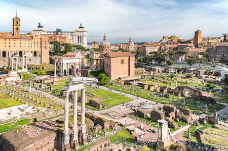 Rome / Italy - May 2, 2015: Ancient monuments and archaeological remains of the Roman Forum (Forum Romanum) heart of ancient Rome, Italy