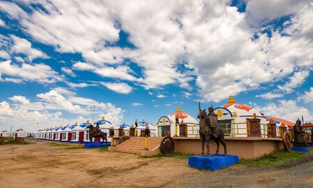 Rows of yurt tents in Inner Mongolia Province of China, near province capital of Hohhot