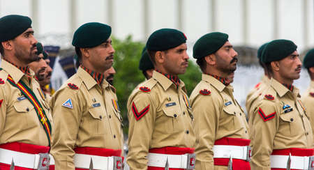 Islamabad / Pakistan - November 3, 2015: Guard of Honor Battalion of the Pakistan Army, during the official ceremony at the Aiwan-e-Sadr Presidential Palace of the President of Pakistan.