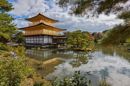 Kyoto / Japan - November 12, 2017: Kinkakuji temple Golden Pavillion, Zen Buddhist temple in Kyoto, Japan, UNESCO world heritage site