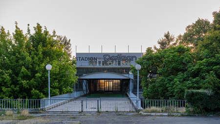 Belgrade / Serbia - July 27, 2019: Entrance gate of the Partizan Belgrade football club stadium in Belgrade, Serbia Sajtókép