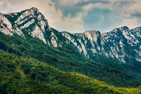 Jagged peaks of Veliki Krs mountain in eastern Serbia, near the city of Bor 스톡 콘텐츠
