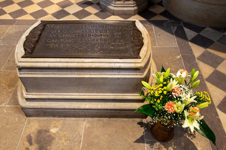 Wittenberg / Germany - February 26, 2017: Martin Luther grave in All Saints Church (Castle Church, Schlosskirche) in Wittenberg, Saxony-Anhalt, Germany