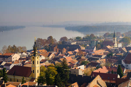 Cityscape of Zemun municipality of Belgrade, capital of Serbia, with Danube river in the background Reklamní fotografie