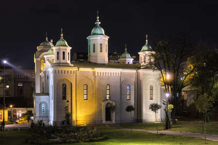 Night view of Church of the Ascension (Vaznesenjska crkva), Serbian Orthodox church in downtown Belgrade, the capital of Serbia Archivio Fotografico