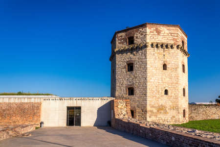 Belgrade / Serbia - August 29, 2020: Nebojsa Tower, medieval tower and dungeon in the Belgrade Fortress built in the 15th century, nowadays a museum