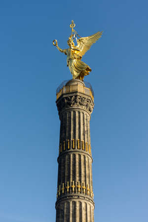 Berlin / Germany - February 14, 2017: The Victory Column (Siegessäule), a major tourist attraction in Berlin. Berliners have given the statue the nickname Goldelse, meaning