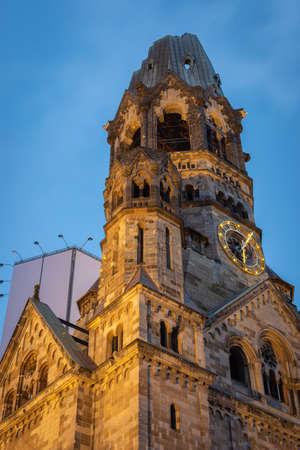 The Kaiser Wilhelm Memorial Church in Breitscheidplatz in Berlin, Germany. It was badly damaged in Second World War bombing raid