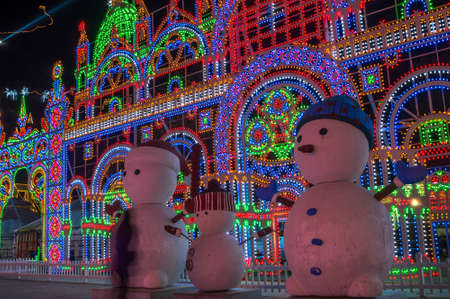 Beijing / China - February 12, 2015: Ice sculptures at Yanqing Longqing Gorge Ice and Snow Festival traditionally held every winter in Yanqing District in northwest Beijing