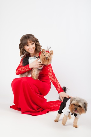 young beautiful woman with two yorkshire terriers in photo studio. dogs in costumes for boy and girl, woman in red dress