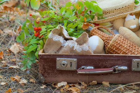 Autumn still life with a rowan branch, a bottle and a vintage suitcase
