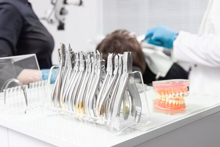 dental instruments, orthodontic instruments. in the treatment room