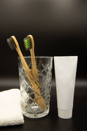 natural bamboo toothbrushes on the table. Oral and dental care.