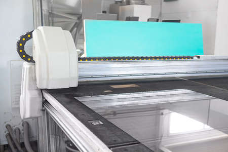 Machine for cutting, grinding and laser marking of flat glass