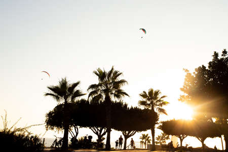 Silhouette of two paragliders in the evening sky with the setting sun. Фото со стока