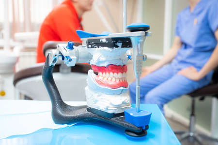 the articulator stands on the table in the treatment room against the background of the dentist and the patient, model, jaw