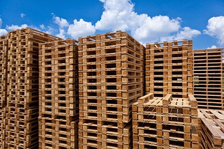 euro pallet: Stacked pallets, symbolic photo for freight transport and logistics