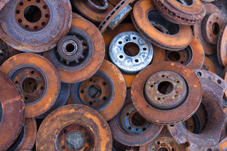 surrogate: pile of old brake discs for recycling Stock Photo
