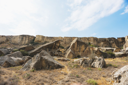 documented: Desert landscape near the national park Gobustan in Azerbaijan. Documented site of ancient people in the list of UNESCO World Heritage sites.