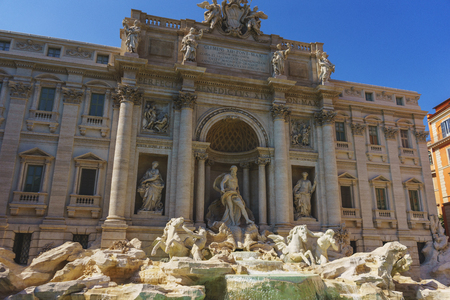 The famous Baroque fountain in Rome - Trevi Fountain Fontana di Trevi. Popular attractions in the old town center.