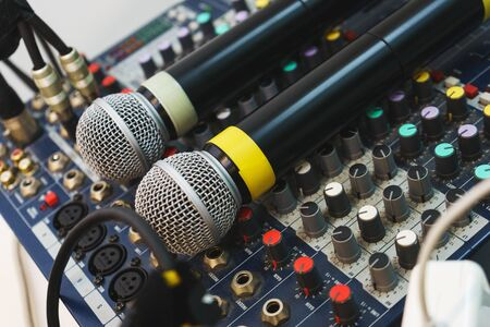 entertainer: Two wireless microphones for host events on your DJ mixing console. equipment musician and entertainer.