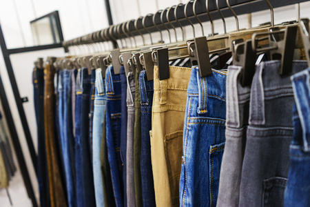 Jeans of different colors and denim