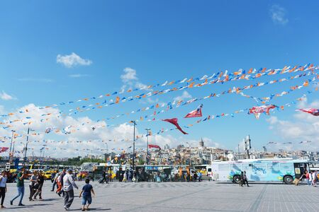 July 2018, Istanbul, Turkey. Election campaign and election campaigning in one of the squares of Istanbul. View of a brightly decorated square with flags. 에디토리얼
