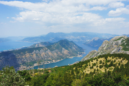 Spectacular view of the Bay of Kotor in Montenegro. View of the bay and the city of Kotor from the top of the mountain. Stunning landscape. Travel to Montenegro.