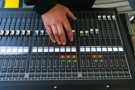 Sound equipment, large mixing console for sound producer  Performance