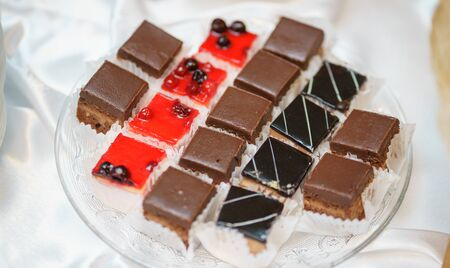 Sweet little desserts cakes in different colors on a plate prepared for the guests of the event. Catering and refreshments for guests and participants of the event. Stock Photo